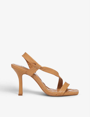 Dune Marbled asymmetric quilted leather sandals