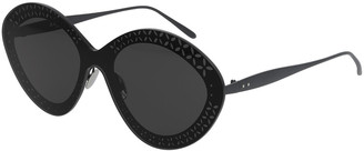Alaia Round Shield Metal Sunglasses