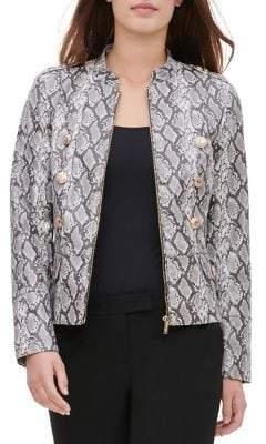 Calvin Klein Snake-Print Faux-Leather Jacket