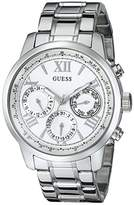 GUESS Women's U0330L3 Sporty Silver-Tone Stainless Steel Watch with Multi-function Dial and Pilot Buckle