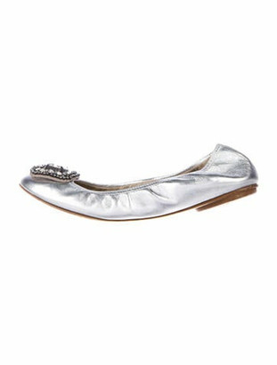 Valentino Leather Crystal Embellishments Ballet Flats Silver