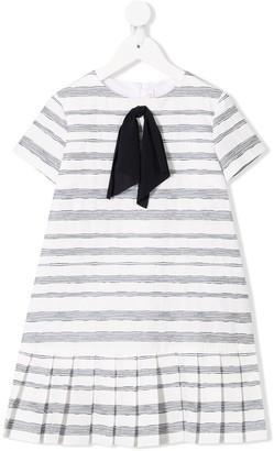 Il Gufo ribbon bow striped dress