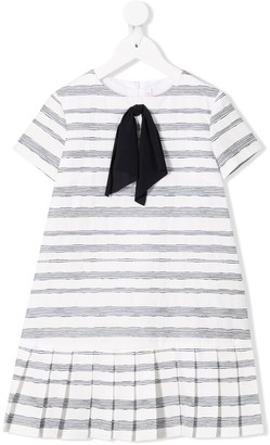 Il Gufo Ribbon Bow Striped Dress