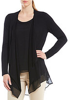 Calvin Klein Knit Jersey Open Drape Front Cardigan With Crepe de Chine Hem
