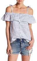 Lucky Brand Space Dye Ruffle Linen Shirt