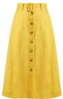 Sea Button-down A-line linen midi skirt