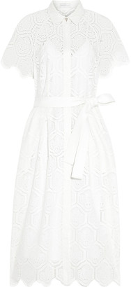 Rebecca Vallance Savannah Belted Broderie Anglaise Cotton Midi Dress