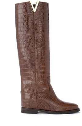 Via Roma 15 Boot Made Of Brown Crocodile Print Leather