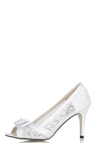 Quiz White Sequin Lace Bow Lace Court Heel