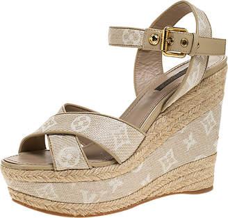 Louis Vuitton Beige Canvas Formentera Espadrille Wedge Platform Ankle Strap Sandals Size 38