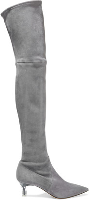 Casadei Plexi Blade Stretch-suede Over-the-knee Boots
