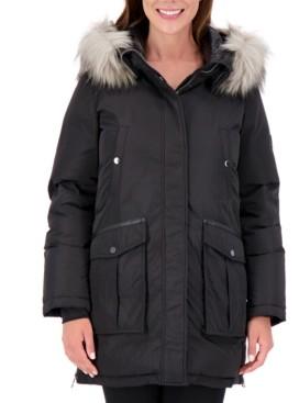 Vince Camuto Petite High-Shine Faux-Fur-Trim Hooded Puffer Coat