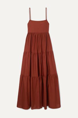 Matteau - Open-back Tiered Cotton-poplin Maxi Dress - Claret