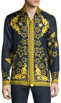 Versace Baroque & Star Printed Long-Sleeve Silk Shirt, Navy