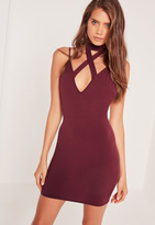 Missguided Cross Front Choker Strappy Bodycon Dress Burgundy