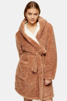 Topshop Womens Mink Borg Dressing Gown - Mink