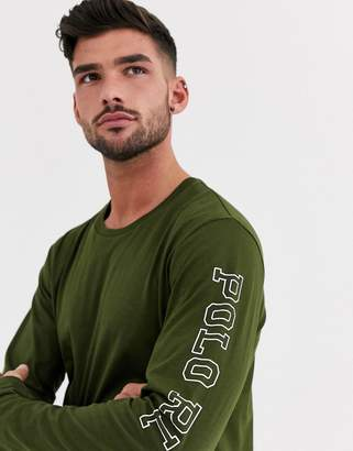 Polo Ralph Lauren lounge long sleeve in olive with arm logo print-Green