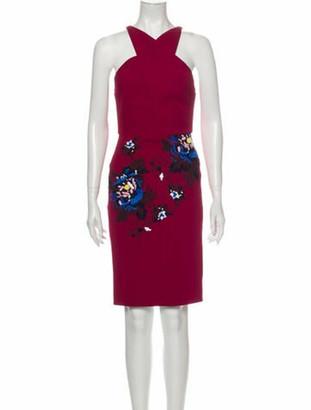 Roland Mouret Printed Knee-Length Dress Red