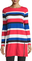 MICHAEL Michael Kors Zip-Detail Striped Knit Tunic, True Red