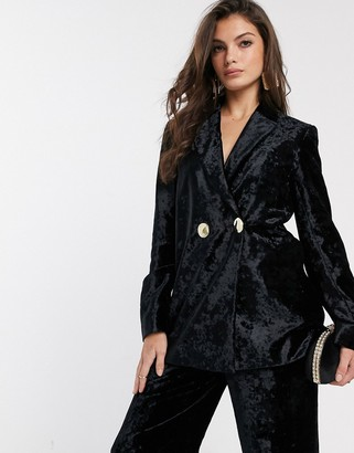 And other stories & crushed velvet double breasted blazer in black