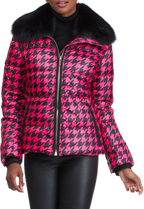 Gorski Apres-Ski Houndstooth Jacket With Detachable Fox Fur Collar