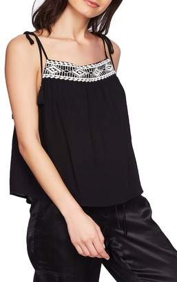 1 STATE 1.State Tie Shoulder Embroidered Crinkle Gauze Top
