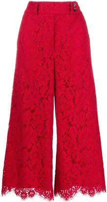 Pt01 Lace Wide-Leg Cropped Trousers
