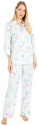 Lauren Ralph Lauren Petite Woven Lawn 3/4 Sleeve Pointed Collar Long Pants Pajama Set (Mint Floral) Women's Pajama Sets