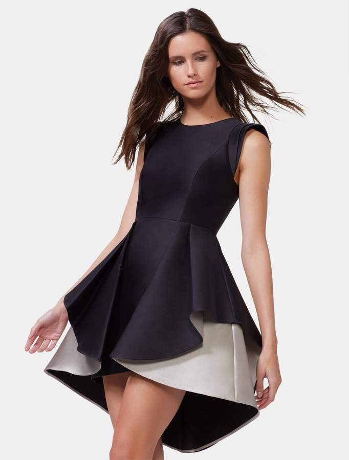 Halston Colorblocked Fit & Flare Dress