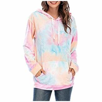 VEMOW Store Tie Dye Sweatshirt for Girls WomenS Long Sleeve Drop Shoulder Oversized Cropped Hoodie Sweatshirt Top Pink