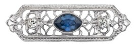 Downton Abbey Silver-Tone Crystal and Blue Navette Center Stone Edwardian Filigree Bar Pin
