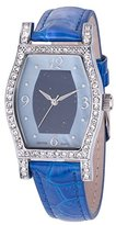 Croton CN207514BLLP Ladies Genuine Lapis Lazuli Stone Dial Watch with Leather Strap, Blue