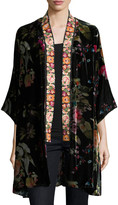 Johnny Was Plus Size Kehlani Reversible Velvet Kimono W/ Embroidery Trim