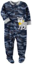 Carter's 1-Pc. Camo-Print Dog Footed Fleece Pajamas, Baby Boys (0-24 months)