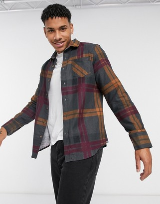 Brave Soul large check flannel shirt in charcoal