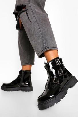 boohoo Wide Fit Triple Buckle Biker Boots