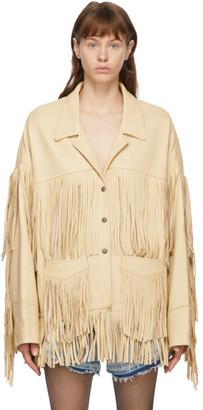 R 13 Off-White Deerskin Fringe Jacket