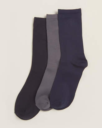 Donna Karan 3-Pair Soft Microfiber Crew Socks