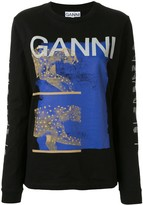Ganni big cat print logo T-shirt