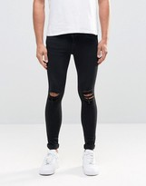 Dr. Denim Dixy Extreme Super Skinny Jeans Black Ripped Knees
