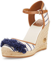 Tory Burch Shaw Striped Espadrille Wedge Pump, Light Natural/Navy Sea/Royal Tan