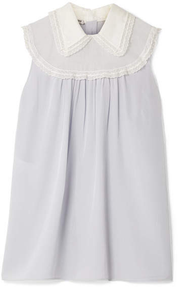 Miu Miu Embellished Point D'esprit And Tulle-trimmed Silk Crepe De Chine Blouse - Lilac