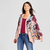 Merona Women's Cocoon with Floral Sleeves Maroon One Size
