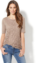 New York & Co. Lace Overlay Boatneck Tee