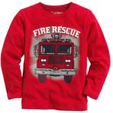 Captain Meow Baby Boy Long Sleeve Fire Truck Red Tee 4T