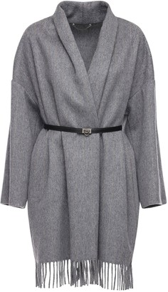 Salvatore Ferragamo Cashmere & Wool Cape W/ Leather Belt