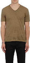 John Varvatos Men's Linen V-Neck T-Shirt-GREEN