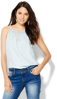 New York & Co. Keyhole Halter Blouse - Icy Blue Wash