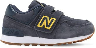 New Balance 574 Leather & Suede Strap Sneakers