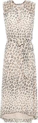 Joie Belted Leopard-print Silk-chiffon Midi Dress